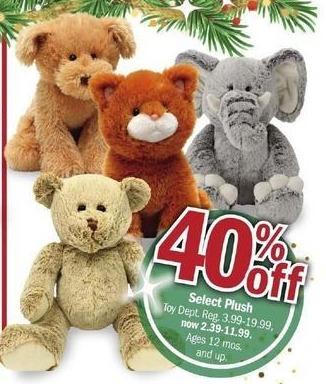 Meijer Black Friday: Select Plush Animals - 40% Off
