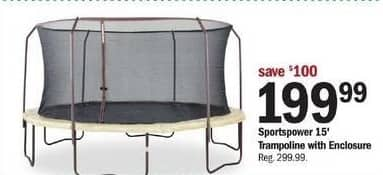 Meijer Black Friday: Sportspower 15' Trampoline w/ Enclosure for $199.99