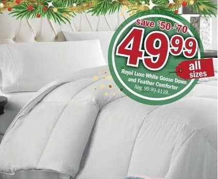 Meijer Black Friday: Royal Luxe White Goose Down and Feather Comforter All Sizes for $49.99