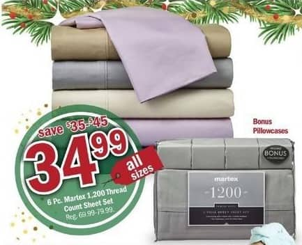 Meijer Black Friday: 6 Pc. Martex 1,200 Thread Count Sheet Set for $34.99