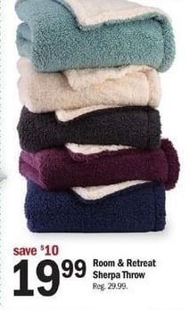 Meijer Black Friday: Room & Retreat Sherpa Throw for $19.99
