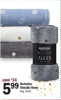 Meijer Black Friday: Berkshire Metallic Throw for $5.99