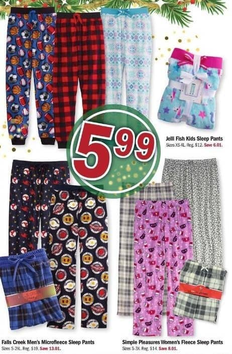 Meijer Black Friday: Falls Creek Men's Microfleece Sleep Pants for $5.99