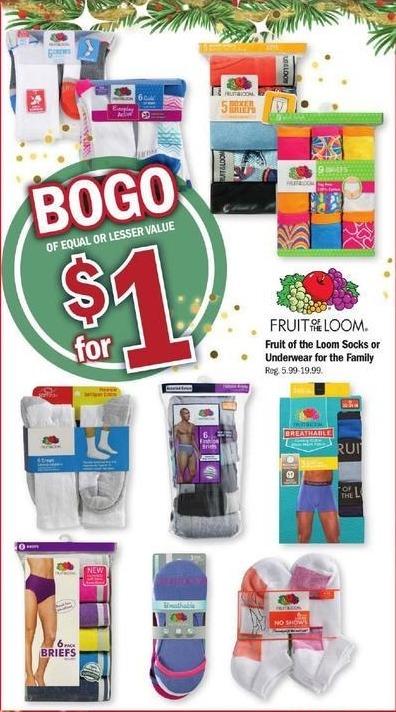 Meijer Black Friday: Fruit of the Loom Socks or Underwear for the Family - B1G1 for $1.00
