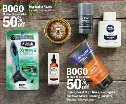 Meijer Black Friday: Cremo, Beard Guyz, Nivea, Neutrogena and Dove Men's Grooming Products - B1G1 50% Off