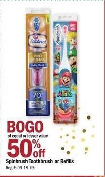 Meijer Black Friday: Spinbrush Toothbrush or Refills - B1G1 50% Off