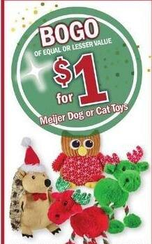 Meijer Black Friday: Meijer Dog or Cat Toys - B1G1 for $1.00