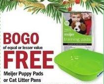 Meijer Black Friday: Meijer Puppy Pads or Cat Litter Pans - B1G1 Free