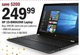 Meijer Black Friday: HP 15-BW063NR Laptop, AMD A9 Processor, 1TB HD, 4 GB RAM for $249.99