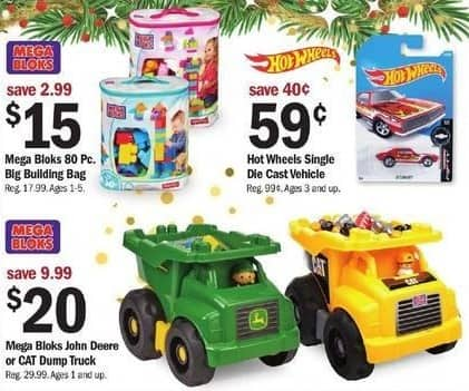 Meijer Black Friday: Mega Bloks John Deere or CAT Dump Truck for $20.00
