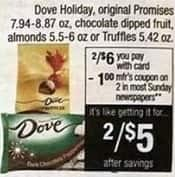 CVS Black Friday: ( 2 ) Dove Holiday, Original Promises 7.94 - 8.87 oz., Chocolate Dipped Fruit, Almonds 5.5 - 6 oz. or Truffles 5.42 Oz. w/Card and Coupon for $5.00