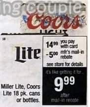 CVS Black Friday: Miller Lite, Coors Lite 18 pk. Cans or Bottles for $9.99 after $5.00 rebate