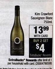CVS Black Friday: Kim Crawford Sauvignon Blanc 750ml. Purchase 2 and Get $4 in ExtraBucks for $13.99