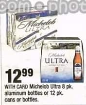 CVS Black Friday: Michelob Ultra 8 pk. Aluminum Bottles or 12 pk. Cans or Bottles for $12.99