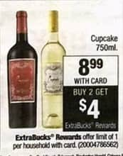 CVS Black Friday: Cupcake 750ml  Purchase 2 and Get $4 in ExtraBucks for $8.99