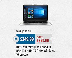 "MacMall Black Friday: HP 17-x Laptop, 17.3"" HD Screen,  Intel Quad Core,  4GB RAM, 1TB HDD,  Windows 10 for $349.99"