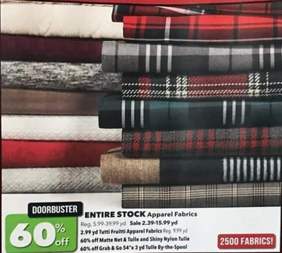 Joann Black Friday: Entire Stock of Apparel Fabrics - 60% Off