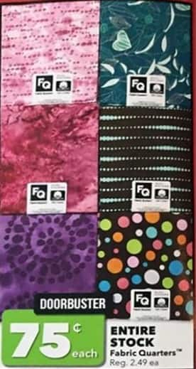 Joann Black Friday: Entire Stock of Fabric Quarters for $0.75