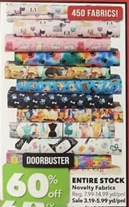 Joann Black Friday: Entire Stock of Novelty Fabrics - 60% Off