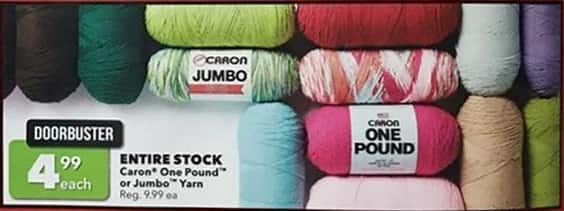 Joann Black Friday: Entire Stock Caron One Pound or Jumbo Yarn for $4.99