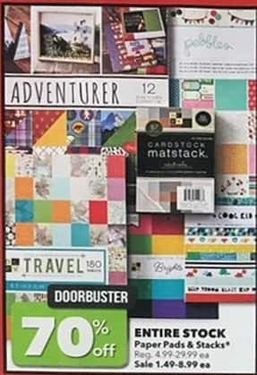 Joann Black Friday: Entire Stock Paper Pads & Stacks - 70% Off