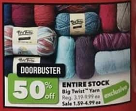 Joann Black Friday: Entire Stock Big Twist Yarn - 50% Off