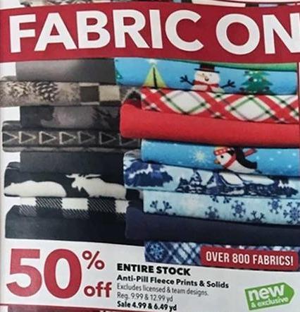 Joann Black Friday: Entire Stock of Anti-Pill Fleece Prints & Solids - 50% Off