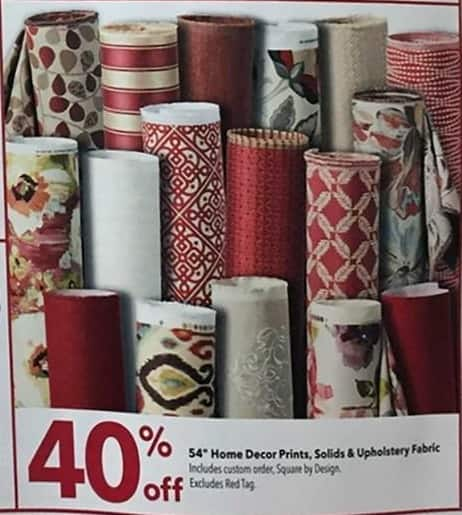 """Joann Black Friday: 54"""" Home Decor Prints, Solids & Upholstery Fabric - 40% Off"""