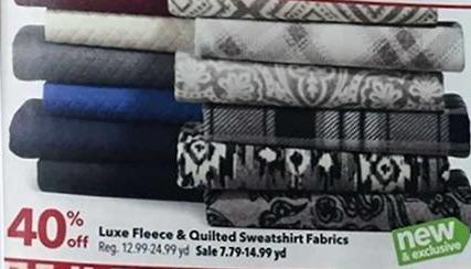 Joann Black Friday: Luxe Fleece & Quilted Sweatshirt Fabrics - 40% Off