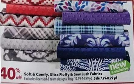 Joann Black Friday: Soft & Comfy, Ultra Fluffy & Sew Lush Fabrics - 40% Off