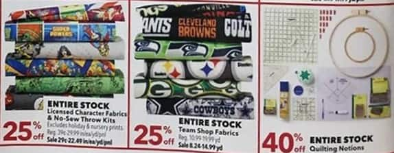 Joann Black Friday: Entire Stock Team Shop Fabrics - 25% Off