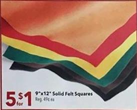 "Joann Black Friday: ( 5 ) 9"" x 12"" Solid Felt Squares for $1.00"