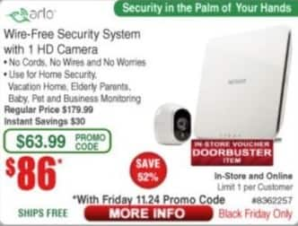Frys Black Friday: Arlo Wire-Free Security System w/ 1 HD Camera for $86.00