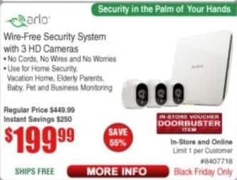 Frys Black Friday: Arlo Wire-Free Security System w/ 3 Cameras for $199.99