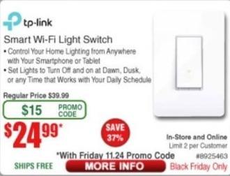 Frys Black Friday: TP-Link Wi-Fi Light Switch for $24.99