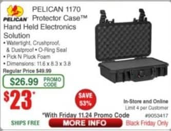 Frys Black Friday: Pelican 1170 Protector Case Hand Held Electronics Solution for $23.00
