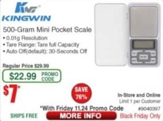 Frys Black Friday: Kingwin 500-Gram Mini Pocket Scale for $7.00