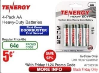 Frys Black Friday: Tenergy 4-Pack AA Heavy-Duty Batteries for $0.05