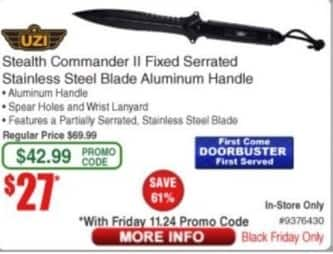 Frys Black Friday: UZI Stealth Commander II Fixed Serrated Stainless Steel Blade Aluminum Handle for $27.00