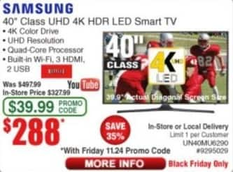 "Frys Black Friday: 40"" Samsung UN40MU6290 4K HDR LED Smart TV for $288.00"