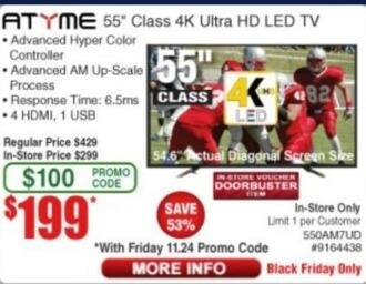 """Frys Black Friday: 55"""" ATyme 550AM7UD 4K Ultra HD LED Tv for $199.00"""