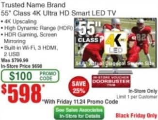 "Frys Black Friday: 55"" Trusted Name Brand 4K Ultra HD Smart LED TV for $598.00"