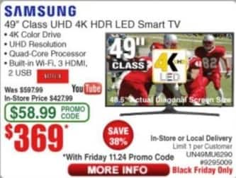 "Frys Black Friday: 49"" Samsung UHD 4K HDR LED Smart TV for $369.00"