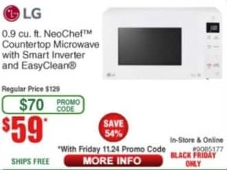 Frys Black Friday: LG 0.9 Cu. Ft. NeoChef Countertop Microwave w/ Smart Inverter and Easy Clean for $59.00