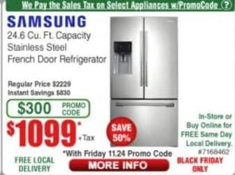 Frys Black Friday: Samsung 24.6 Cu. Ft. Capacity Stainless Steel French Door Refrigerator for $1,099.00