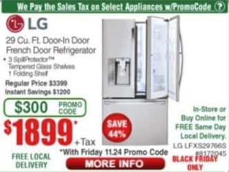 Frys Black Friday: LG 29 Cu. Ft. Door-In Door French Door Refrigerator LGLFXS29766S for $1,899.00