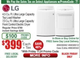 Frys Black Friday: LG 4.5 Cu. Ft. Ultra Large Capacity Top Load Washer for $399.00