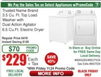 Frys Black Friday: Trusted Brand Name  6.5 Cu. Ft. Electric Dryer for $229.00
