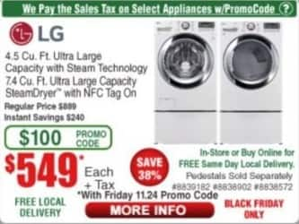 Frys Black Friday: LG 4.5 Cu. Ft. Ultra Large Capacity w/ Steam Technology Washer for $549.00