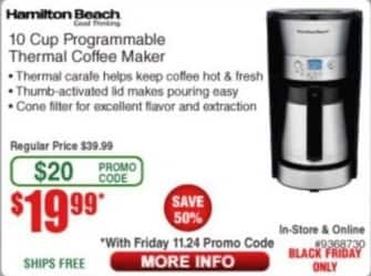 Frys Black Friday: Hamilton Beach 10 Cup Programmable Thermal Coffee Maker for $19.99